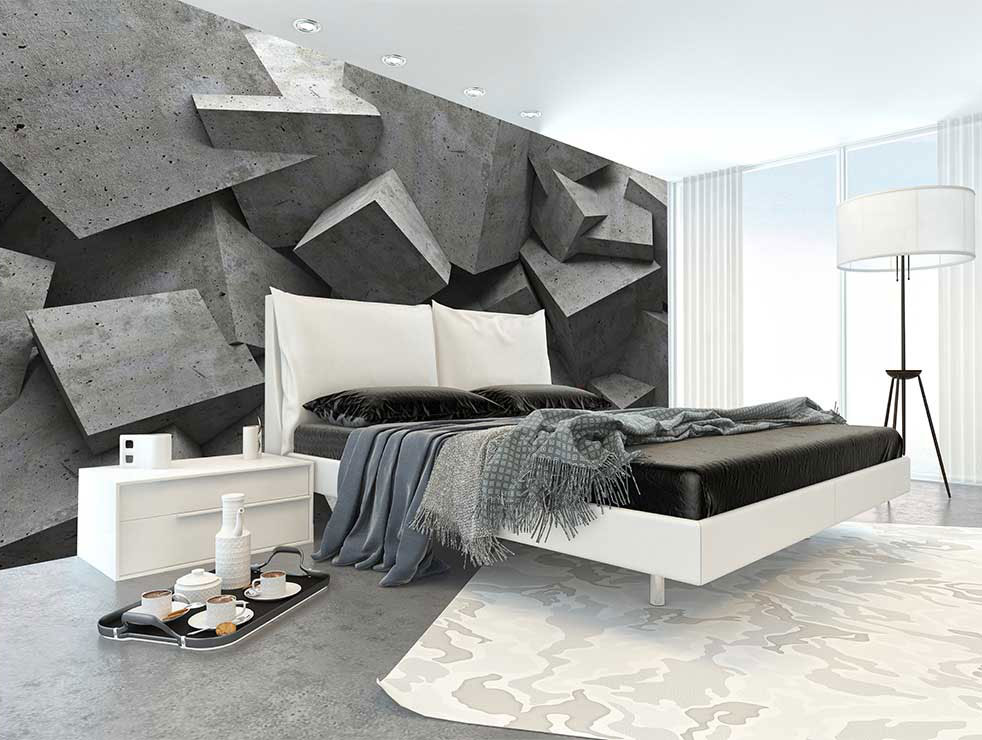 Vliesová tapeta betonové kostky použitá v ložnici