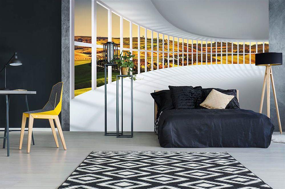 Zajímavá vliesová tapeta zaoblená hala s abstraktním nádechem