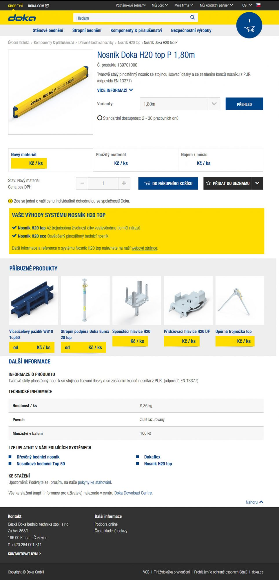 Internetový obchod shop.doka.com nabízí bednicí techniku i komponenty ke koupi i do nájmu. Kdykoliv, odkudkoliv a bezkontaktně :-)
