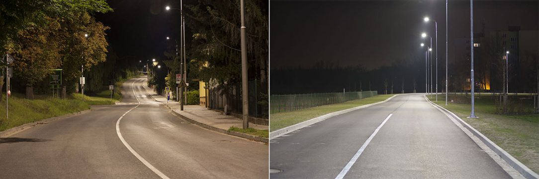 Komunikace osvětlená LED svítidly s náhradní teplotou chromatičnosti 3000 K (vlevo) a 4000 K (vpravo)
