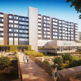 Pohled na hotel a zahradu z Dvořákova nábřeží.