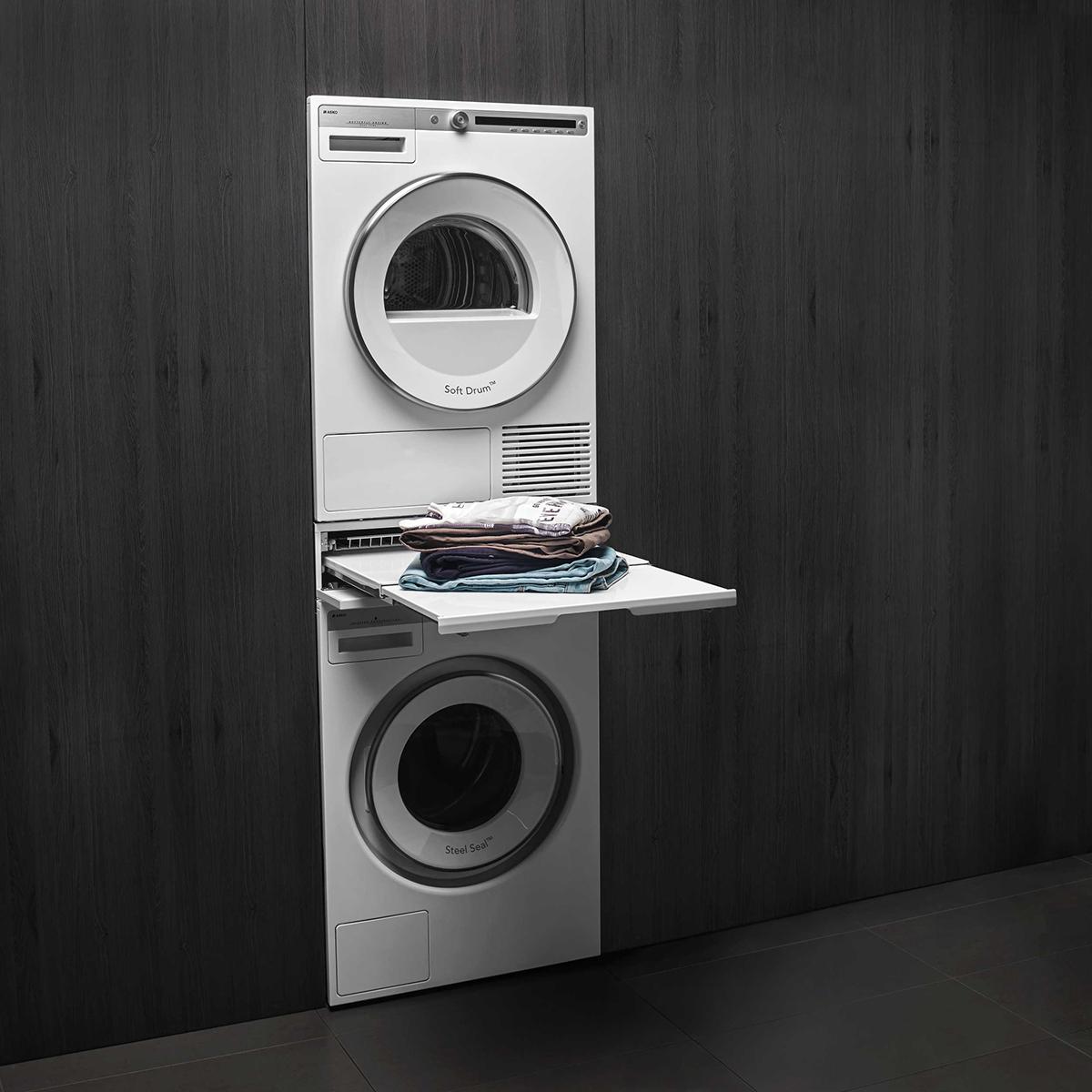 157989 file print ASKO Pro Home Laundry hidden helper double shelf basket white 1