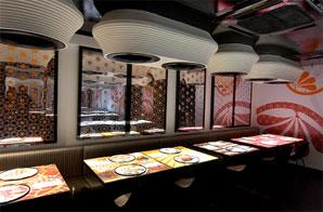 Futuristická restaurace Inamo v Londýně