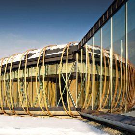 Kongresový sál vpletený do dřeva