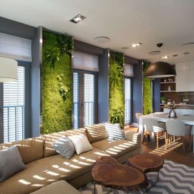 Živé zelené stěny v interiéru