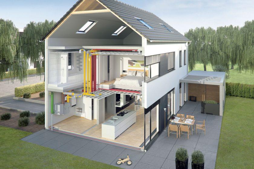 Vysoce kvalitní a hygienické rozvody vzduchu pro větrání s rekuperací v rodinném domě.