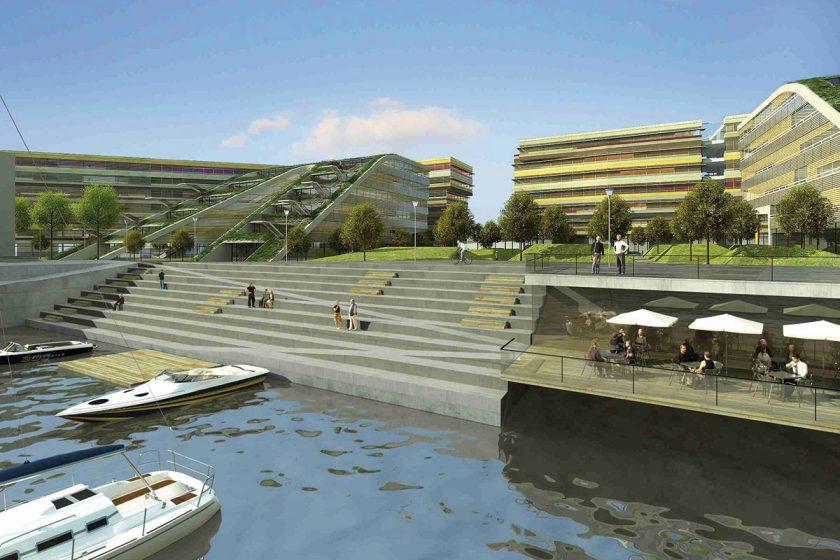 Mezi slepými rameny Vltavy rostou další kanceláře projektu DOCK