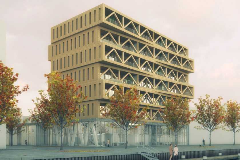 Nejvyšší dřevěný dům v Nizozemsku Patch22 v Amsterodamu je postaven jako ekologická stavba