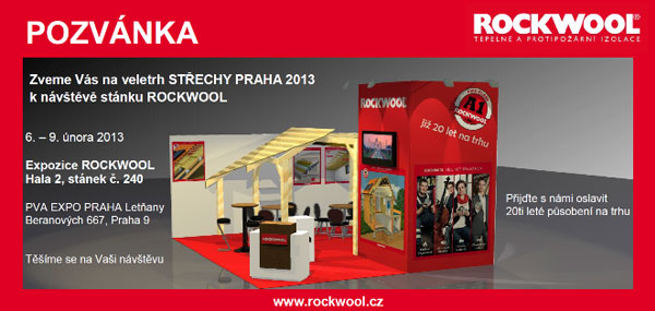 ROCKWOOL představí na veletrhu Střechy Praha 2013 novinky v izolacích