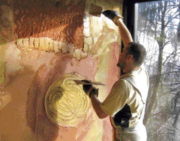 Zpracování finálních hliněných omítek